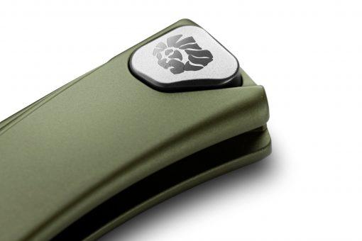LionSteel Thrill Aluminum M390 Blade Green Aluminum Handle SlipJoint Knife Clip Button Close Up