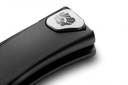 LionSteel Thrill Aluminum M390 Blade Black Aluminum Handle SlipJoint Knife Clip Button Close Up