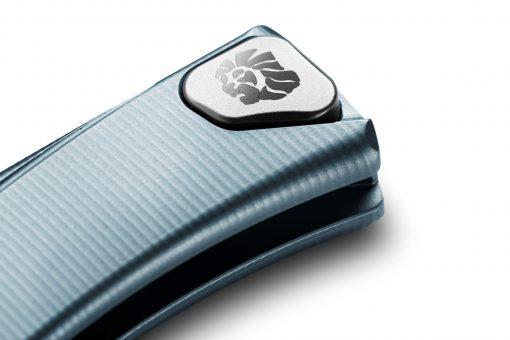 LionSteel Thrill Titanium M390 Blade Blue Titanium Handle SlipJoint Knife Clip Button Close Up