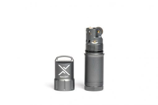 Exotac titanLIGHT Evaporation-proof Liquid Lighter - Gunmetal Front Side Open