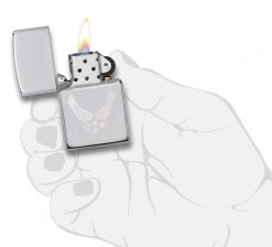 Zippo - U.S. Air Force Emblem Lighter Front Side Open With Hand Graphic