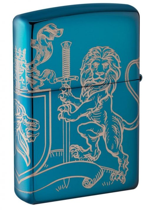 Zippo - Medieval Coat of Arms Design Lighter Back Side Closed Angled