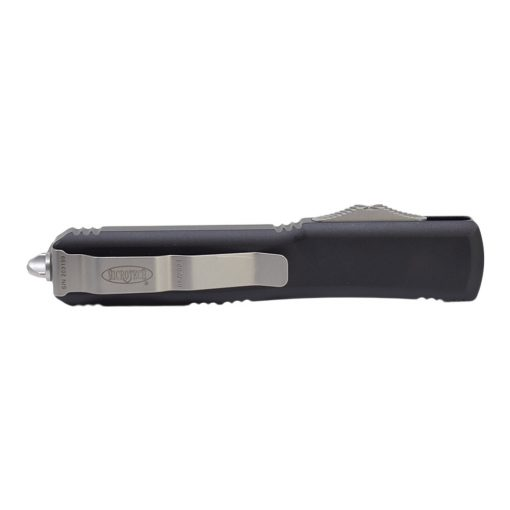 Microtech Ultratech OTF Automatic Knife Stonewash D/E Serrated Blade Black Aluminum Handle Back Side Closed