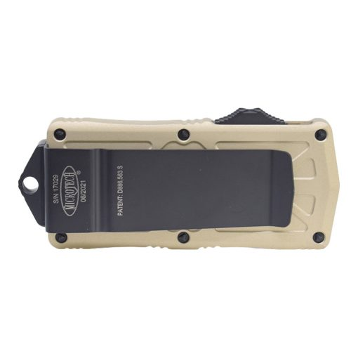 Microtech Exocet Black D/E CA Legal OTF Automatic Champagne Gold Handle Back Side Closed