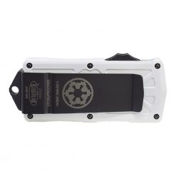 Microtech Exocet Stormtrooper White D/E CA Legal OTF Automatic White Handle Back Side Closed