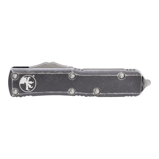 Microtech UTX-85 D/E Stonewash OTF Automatic Knife Distressed Black Handle Front Side Closed