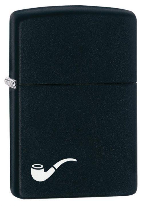 Zippo - Pipe Design Black Matte Lighter Front Side Closed Angled