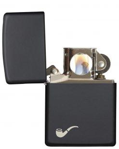 Zippo - Pipe Design Black Matte Lighter Front Side Open