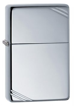Zippo - High Polish Chrome Vintage with Slashes Lighter Front Side Closed Angled