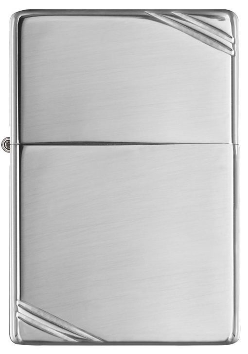 Zippo - High Polish Chrome Vintage with Slashes Lighter Front Side Closed