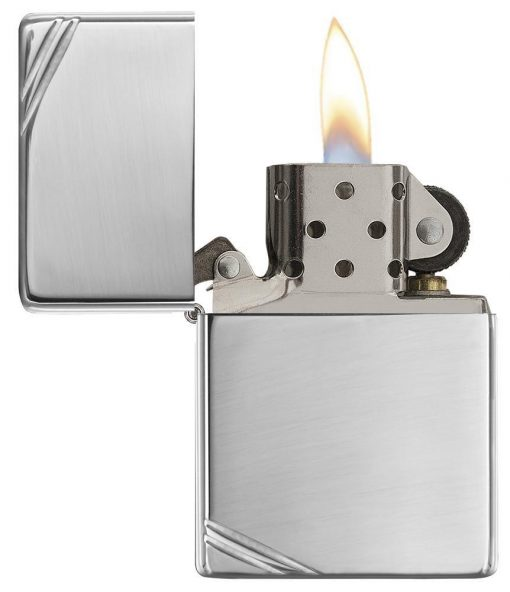 Zippo - High Polish Chrome Vintage with Slashes Lighter Front Side Open