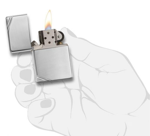 Zippo - High Polish Chrome Vintage with Slashes Lighter Front Side Open With Hand Graphic