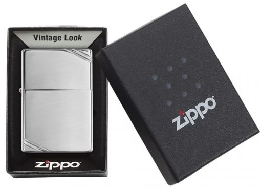 Zippo - High Polish Chrome Vintage with Slashes Lighter Front Side Closed In Box