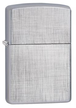 Zippo - Classic Linen Weave Brushed Chrome Lighter Front Side Closed Angled