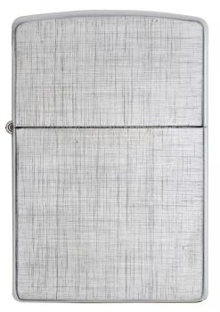 Zippo - Classic Linen Weave Brushed Chrome Lighter Front Side Closed