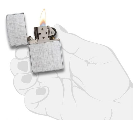 Zippo - Classic Linen Weave Brushed Chrome Lighter Front Side Open With Hand Graphic