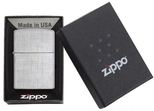 Zippo - Classic Linen Weave Brushed Chrome Lighter Front Side Closed in Box