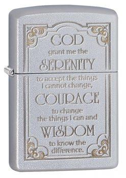 Zippo - Serenity Prayer Lighter Front Side Closed Angled