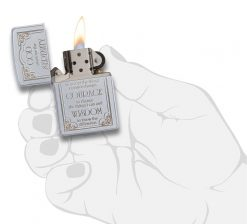 Zippo - Serenity Prayer Lighter Front Side Open With Hand Graphic