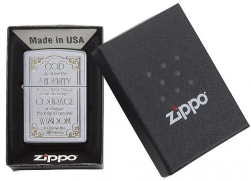 Zippo - Serenity Prayer Lighter Front Side Closed in Box
