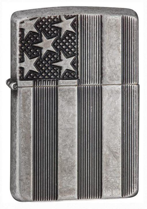 Zippo - Armor Flag Design Lighter Front Side Closed