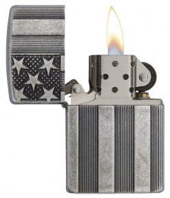 Zippo - Armor Flag Design Lighter Front Side Open