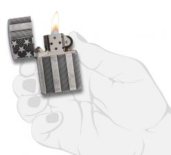 Zippo - Armor Flag Design Lighter Front Side Open With Hand Graphic