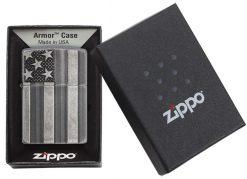 Zippo - Armor Flag Design Lighter Front Side Closed in Box