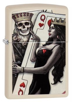Zippo - Skull, King, Queen Beauty Lighter Front Side Closed Angled