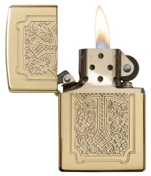 Zippo - Armor Eccentric Cross Design High Polish Brass Lighter Front Side Open