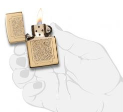 Zippo - Armor Eccentric Cross Design High Polish Brass Lighter Front Side Open With Hand Graphic
