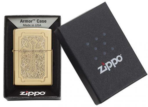 Zippo - Armor Eccentric Cross Design High Polish Brass Lighter Front Side Closed in Box