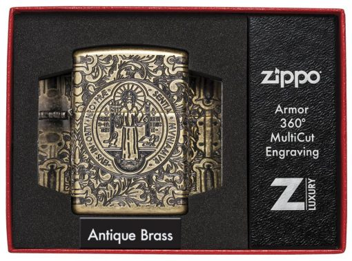 Zippo - St. Benedict Design Lighter Front Side Closed in Box