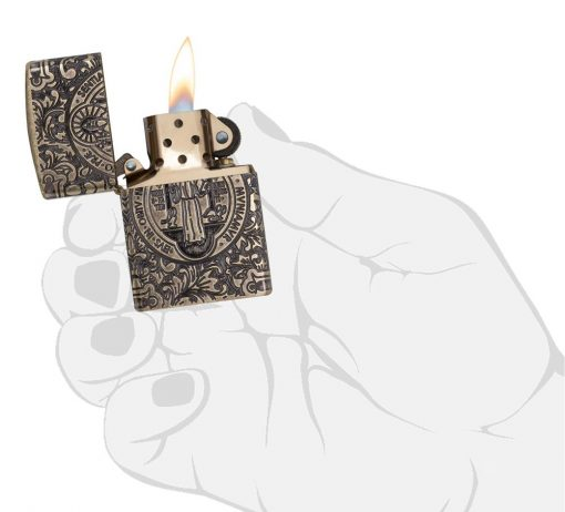 Zippo - St. Benedict Design Lighter Front Side Open With Hand Graphic