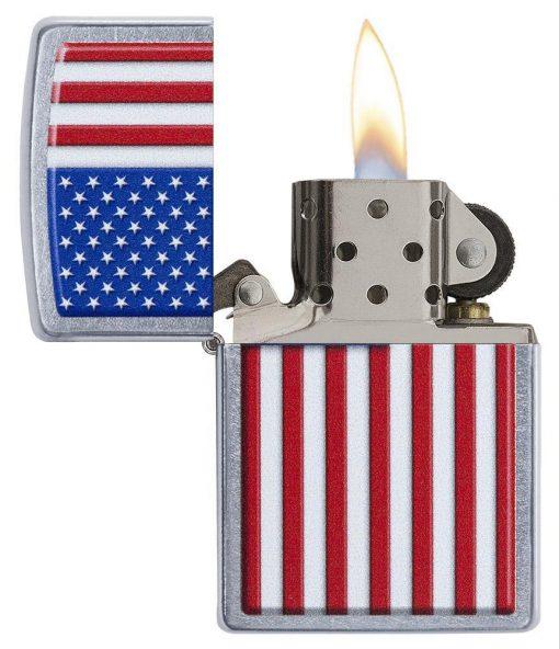 Zippo - Patriotic Design Lighter Front Side Open