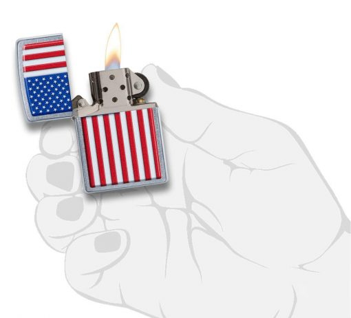 Zippo - Patriotic Design Lighter Front Side Open With Hand Graphic
