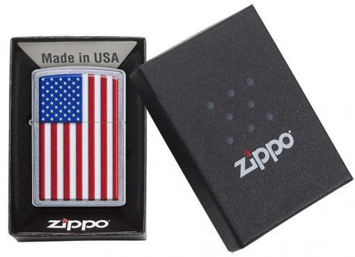 Zippo - Patriotic Design Lighter Front Side Closed in Box