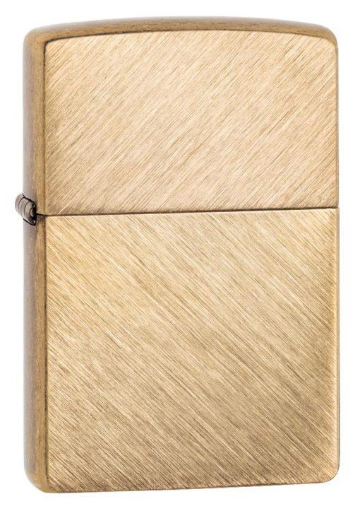 Zippo - Classic Herringbone Sweep Brass Lighter Front Side Closed