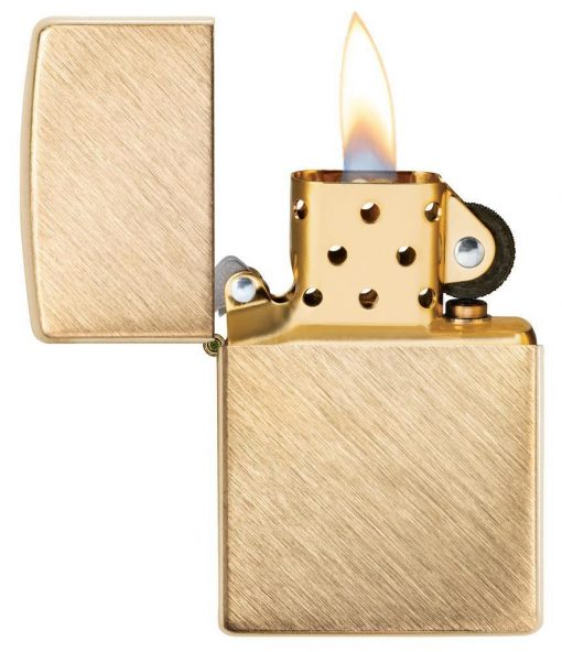 Zippo - Classic Herringbone Sweep Brass Lighter Front Side Open