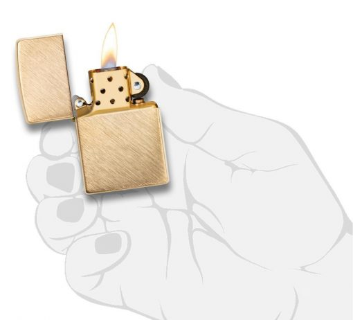 Zippo - Classic Herringbone Sweep Brass Lighter Front Side Open With Hand Graphic
