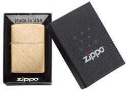 Zippo - Classic Herringbone Sweep Brass Lighter Front Side Closed in Box