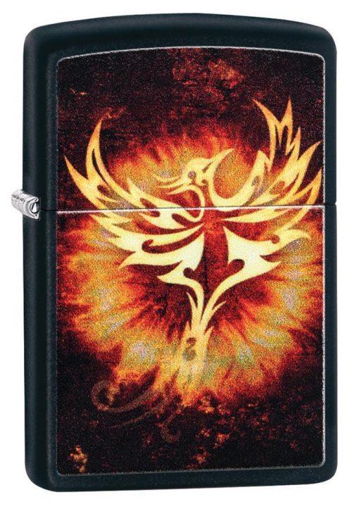 Zippo - Phoenix Design Black Matte Lighter Front Side Closed