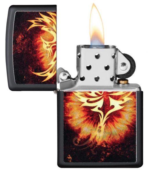 Zippo - Phoenix Design Black Matte Lighter Front Side Open