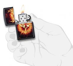 Zippo - Phoenix Design Black Matte Lighter Front Side Open With Hand Graphic