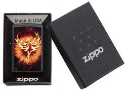 Zippo - Phoenix Design Black Matte Lighter Front Side Closed in Box