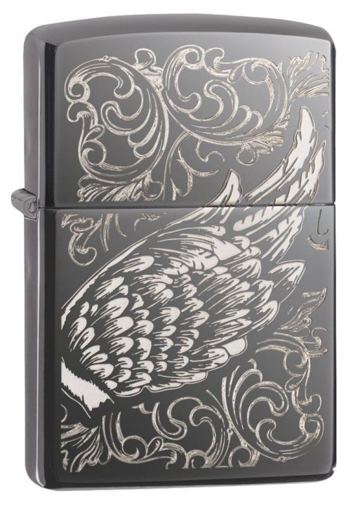 Zippo - Filigree Flame and Wing Design Lighter Front Side Closed