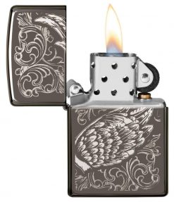 Zippo - Filigree Flame and Wing Design Lighter Front Side Open