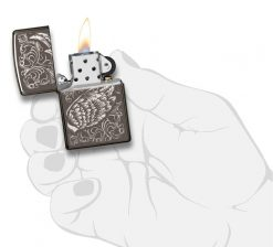Zippo - Filigree Flame and Wing Design Lighter Front Side Open With Hand Graphic