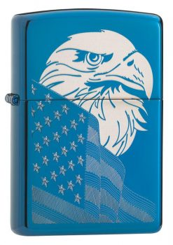 Zippo - High Polish Blue Eagle and Flag Design Lighter Front Side Closed Angled