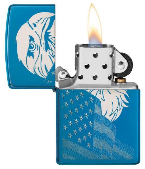 Zippo - High Polish Blue Eagle and Flag Design Lighter Front Side Open